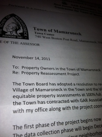 Town of Mamaroneck assessment letter