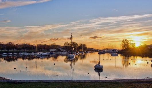 dawn, mamaroneck harbor, photo