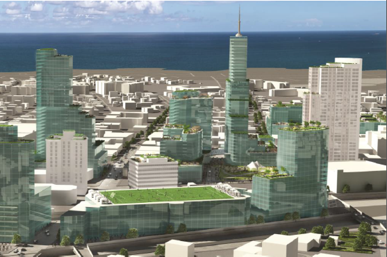An artist's rendering of the future downtown New Rochelle development. Courtesy RDRXX