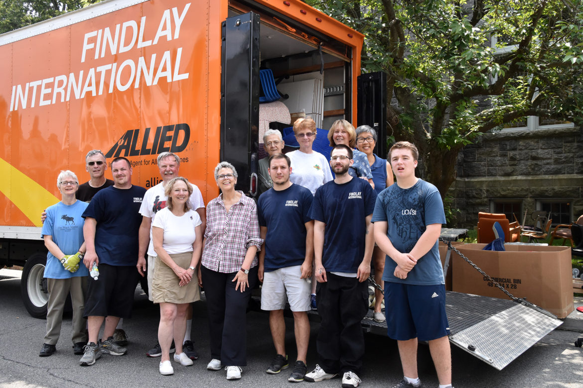 The moving day all-volunteer team included a Findlay International moving van and crew donated by Larchmont resident, Greg Mouracade.