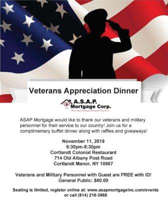 4th Annual Veterans Appreciation Dinner @ Cortlandt Colonial Restaurant |  |  |