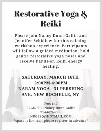 Restorative Yoga & Reiki Workshop @ NARAM Yoga |  |  |