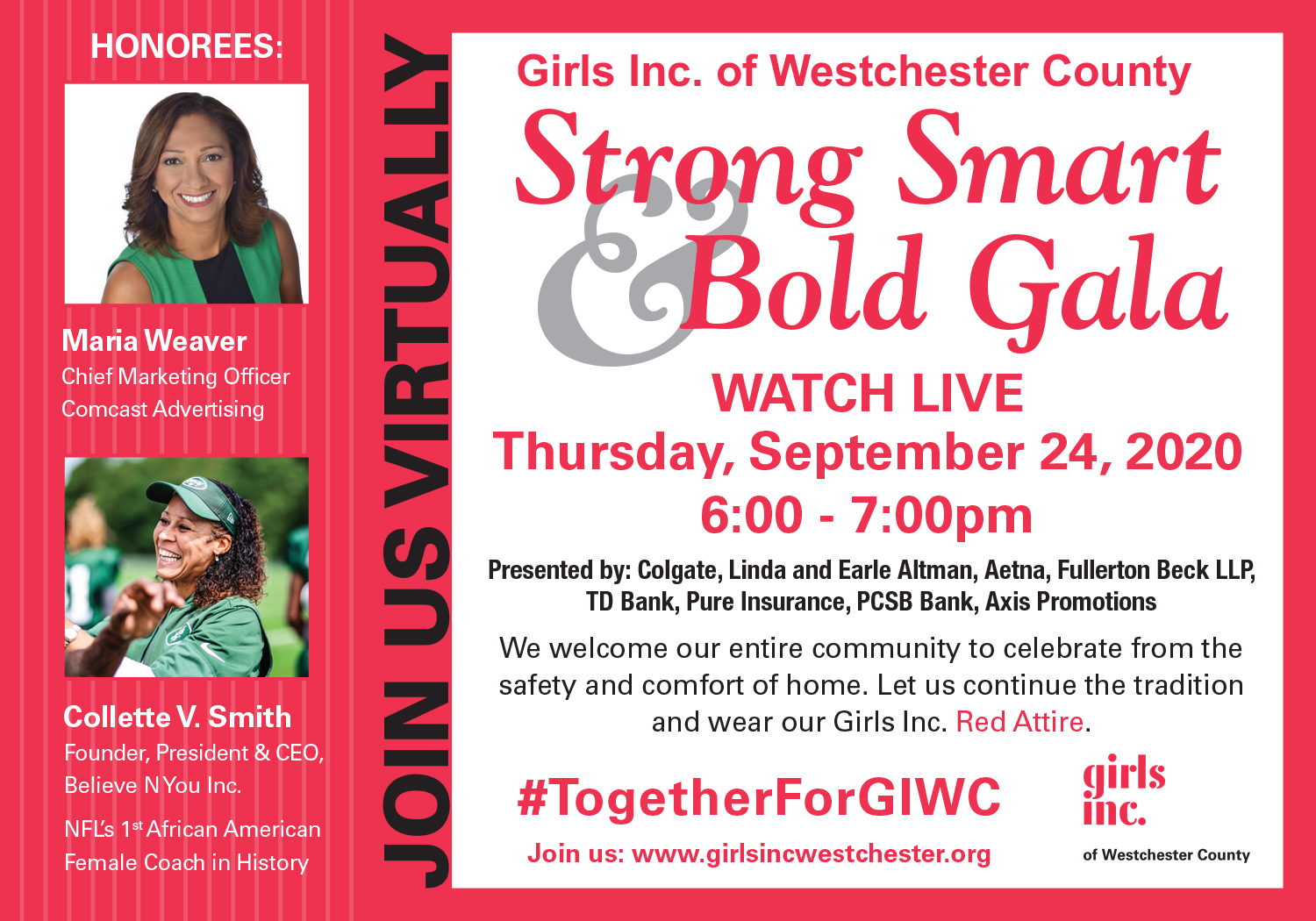 Girls Inc. of Westchester County Strong, Smart & Bold Virtual Gala