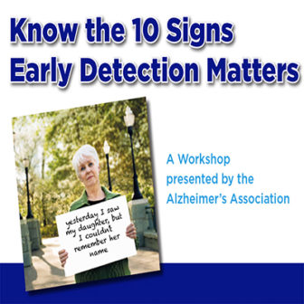 Know the 10 Signs: Early Detection Matters @ Larchmont Public Library ONLINE |  |  |