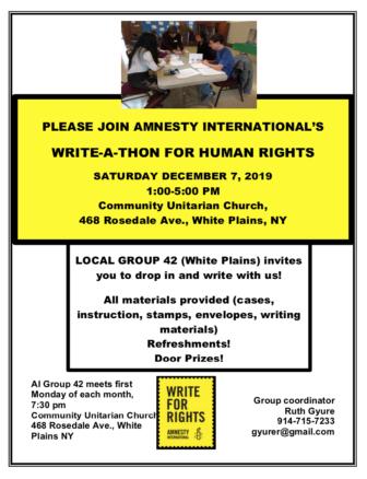 Write for Rights event, Amnesty International @ Community Unitarian Church |  |  |