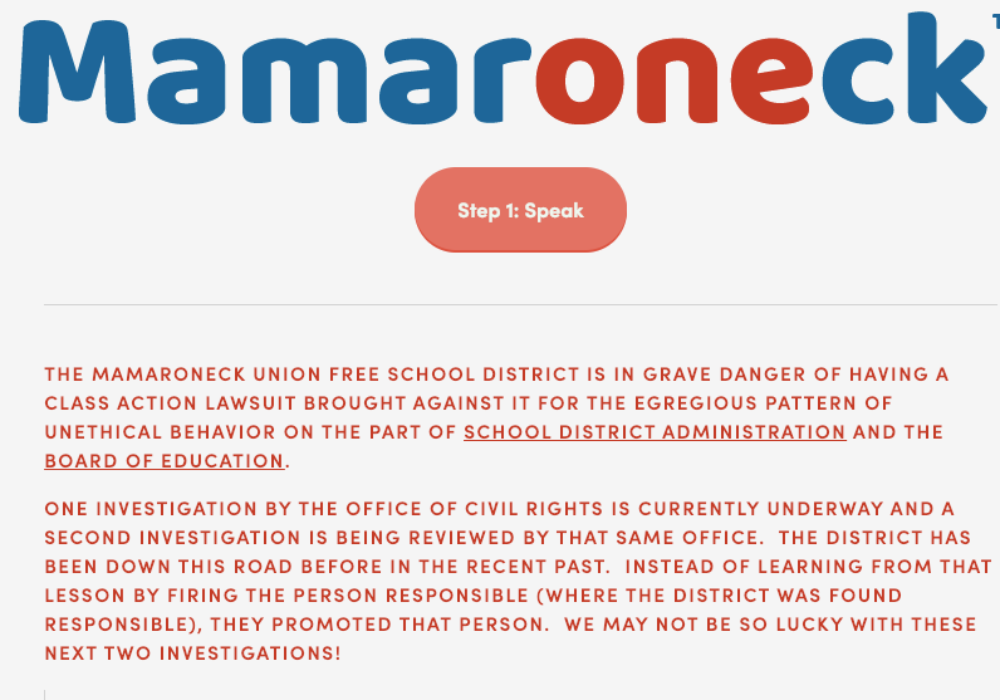 """""""OneMamaroneck"""" Forms in Opposition to School District Response to Alleged Racism"""
