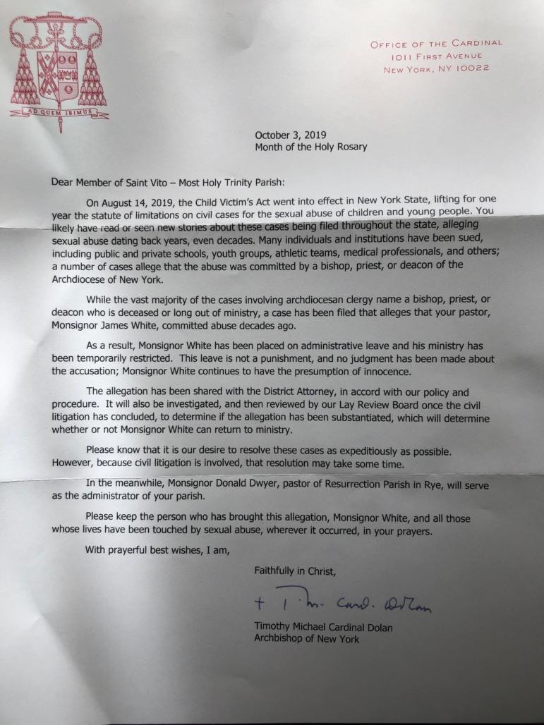 Cardinal's Monsgr White Letter